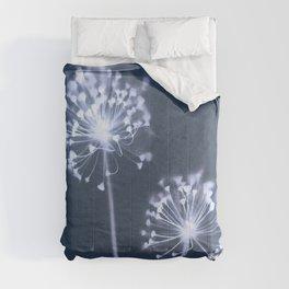 Indigo Dandelion Botanical Cyanotype Comforters