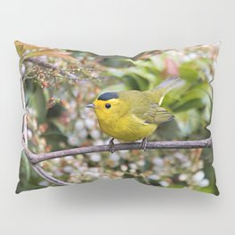 Cute Wilson's Warbler on the Grapevine Pillow Sham