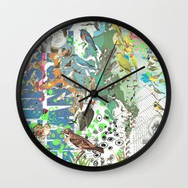 Bird Grid Paste Up 2 Wall Clock