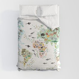 Cartoon animal world map for children, kids, Animals from all over the world, back to school, white Comforters