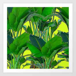 DECORATIVE TROPICAL GREEN FOLIAGE & CHARTREUSE ART Art Print
