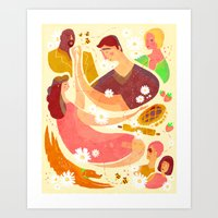 pushing daisies Art Prints featuring Pushing Daises by Hannah Bess Ross