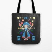 megaman Tote Bags featuring MegaMan Shrine by MattBlanksArt