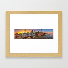 Boats at Sunset in Marina Quay West Framed Art Print