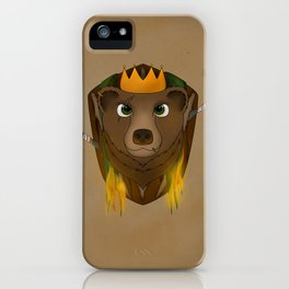 """The Warlord Bear"" with Map Texture iPhone Case"