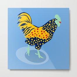 Light Blue Chicken Metal Print