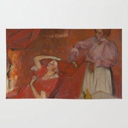 Combing the Hair by Edgar Degas Rug