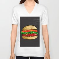 burger V-neck T-shirts featuring Burger by YusufSangdes
