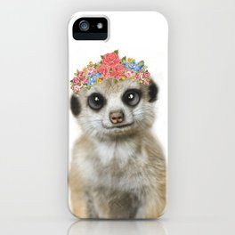 Meercat wirh flower crown iPhone Case