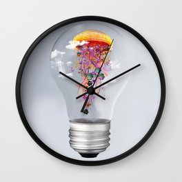 Electric Jellyfish Worlds in  a Ligtbulb Wall Clock