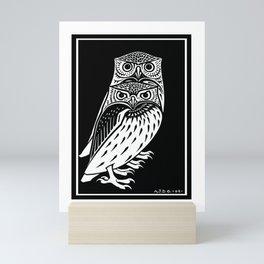 TWO OWLS, Black & White Engraving Print Mini Art Print