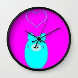 Blue Pig in Love Wall Clock