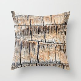 Palm Tree Razor Cuts // Close Up Tan and Natural Wood Texture Throw Pillow