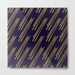 Golden lines on dark blue background Metal Print