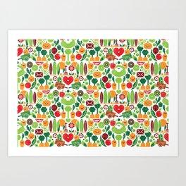 Vegetables tile pattern Art Print