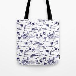 Tropical Island Vintage Hawaii Summer Pattern in Navy Blue Tote Bag