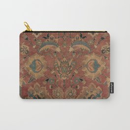 Flowery Boho Rug IV // 17th Century Distressed Colorful Red Navy Blue Burlap Tan Ornate Accent Patte Carry-All Pouch
