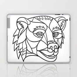 Grizzly Bear Head Mosaic Black and White Laptop & iPad Skin