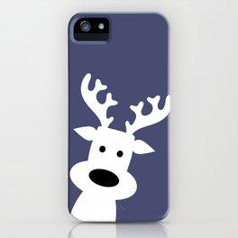 Reindeer on blue background iPhone Case
