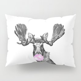 Bubble Gum Moose in Black and White Pillow Sham