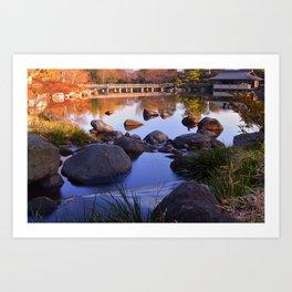 Hut and Bridge on Pond Art Print