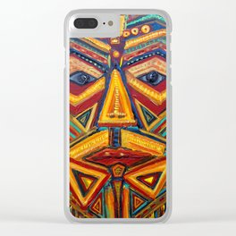 Warrior mask Clear iPhone Case