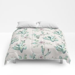 Pretty Cactus Rose Pattern Pale Pink + Green Comforters
