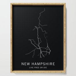 New Hampshire State Road Map Serving Tray