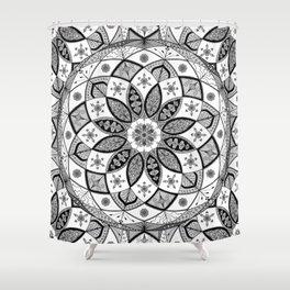 Mandala black white art pattern floral design Shower Curtain