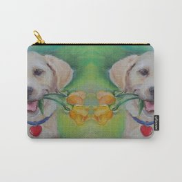 Valentine gift Labrador dog with heart and flowers Pet portrait Cute puppy Love Carry-All Pouch