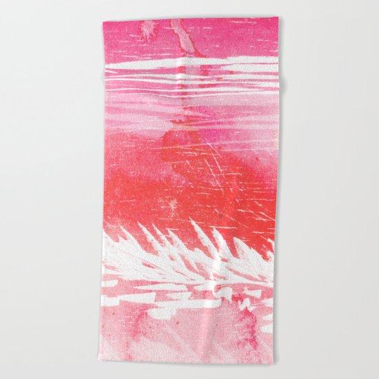 Pink Landscape Beach Towel