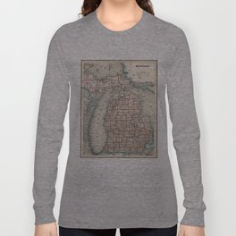 Vintage Map of Michigan (1893) Long Sleeve T-shirt
