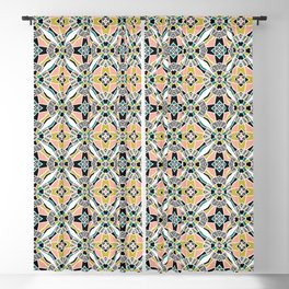 Bold hand drawn floral quilt. Blackout Curtain