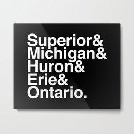 Helvetica Great Lakes Reversed Metal Print
