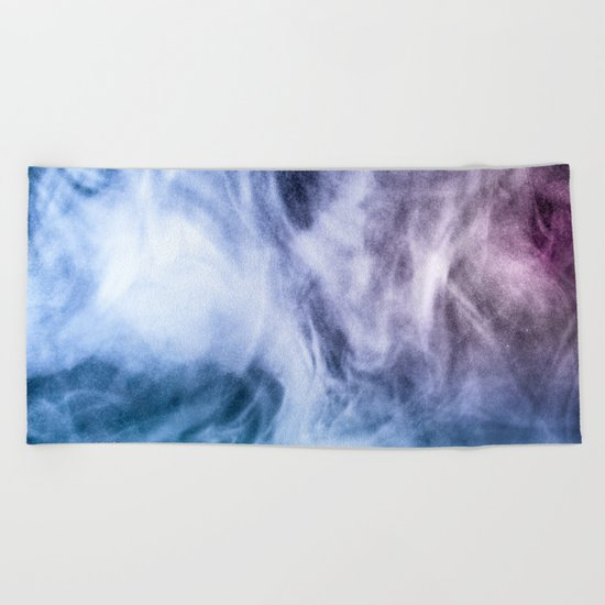 Blue and purple abstract heavenly clouds Beach Towel