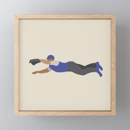 Baseball Player in Blue Fielding a Diving Catch, Flat Graphic Framed Mini Art Print