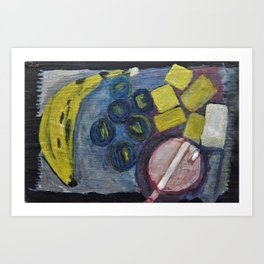 Still life with a banana Art Print