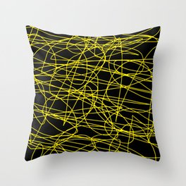Black with yellow scribbling lines, happy yellow art, less is more Throw Pillow
