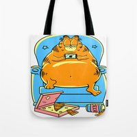 garfield Tote Bags featuring garfield by Vincent Trinidad