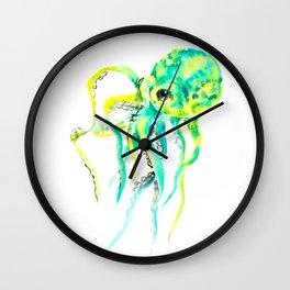 Octopus, yellow, turquoise green octopus lover art Wall Clock