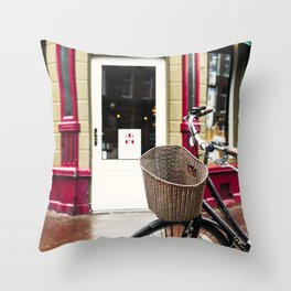 Amsterdam streets - bike and cafe Throw Pillow