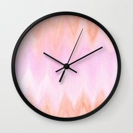 Geometric hand painted coral pink watercolor ikat chevron Wall Clock