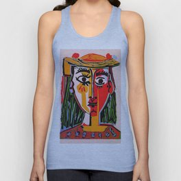 Head of a woman in a Hat Picasso Unisex Tank Top