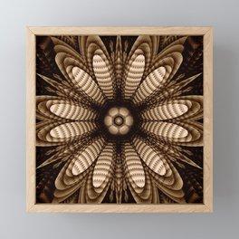 Abstract flower mandala with geometric texture Framed Mini Art Print