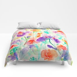 Watercolor Abstract Floral Pattern purple Orange Blue Iris Comforters