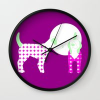 puppies Wall Clocks featuring Puppies by Silja Rouvinen