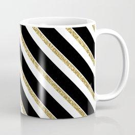 Black Gold White Stripe Pattern 1 Coffee Mug