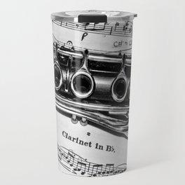 B Flat Clarinet in Black & White Travel Mug