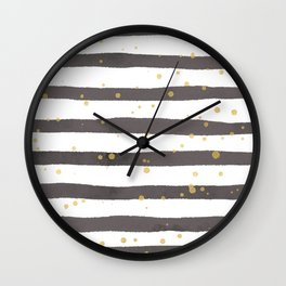 Modern gray yellow white watercolor splatters stripes Wall Clock