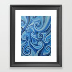 Parting Waves abstract ocean sea swirls painting Framed Art Print